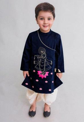 Embroidered Dupion Silk Dhoti Kurta in Navy Blue