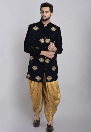 Embroidered Velvet Dhoti Sherwani in Navy Blue