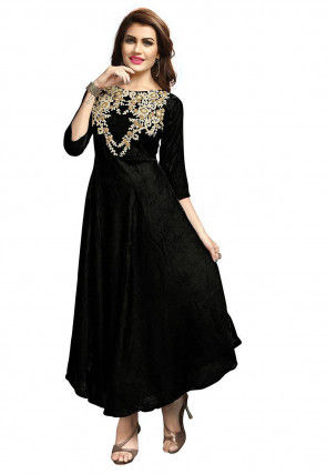 Embroidered Velvet Dress in Black