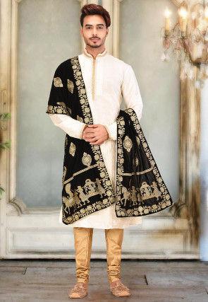 Embroidered Velvet Dupatta in Black