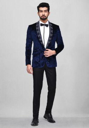 Embroidered Velvet Embossed Tuxedo in Navy Blue