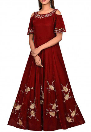 Embroidered Velvet Gown in Maroon