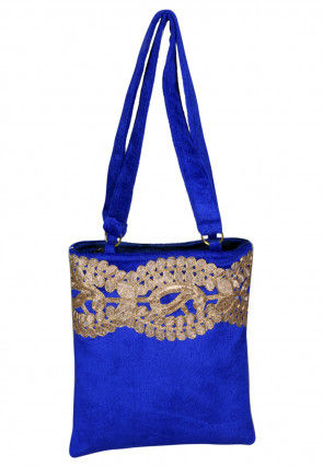 Embroidered Velvet Hand Bag in Royal Blue