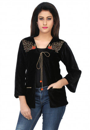 Embroidered Velvet Jacket in Black