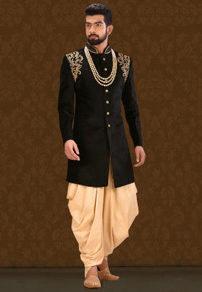 Embroidered Velvet Jodhpuri Suit in Black