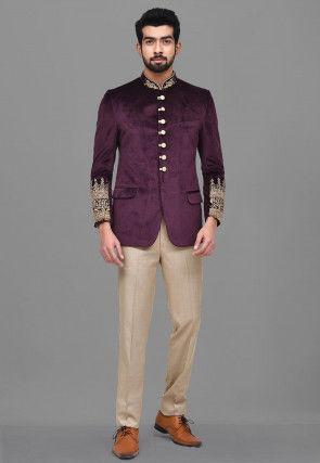 Embroidered Velvet Jodhpuri Suit in Wine