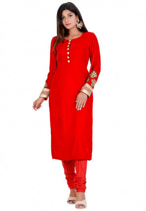 Embroidered Velvet Kurta in Red