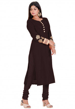 Embroidered Velvet Kurta Set in Dark Brown