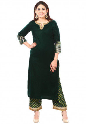 Embroidered Velvet Kurta with Palazzo in Dark Green
