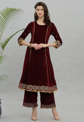 Embroidered Velvet Kurta with Palazzo in Maroon