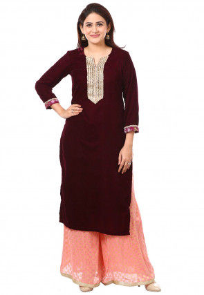 Embroidered Velvet Kurta with Palazzo in Wine