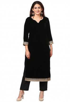 Embroidered Velvet Kurta with Pant in Black