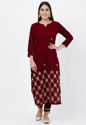 Embroidered Velvet Kurta with Pant in Maroon