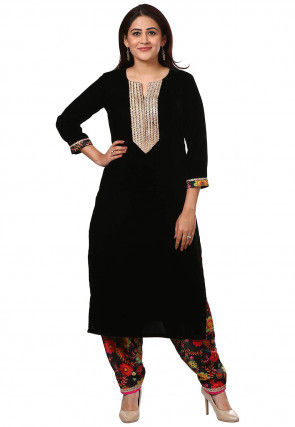 Embroidered Velvet Kurta with Salwar in Black