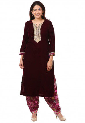 Embroidered Velvet Kurta with Salwar in Wine