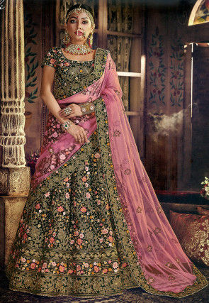 Embroidered Velvet Lehenga in Dark Green