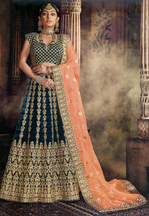 Embroidered Velvet Lehenga in Dark Teal Blue