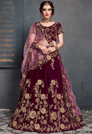 Embroidered Velvet Lehenga in Magenta