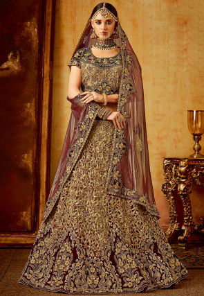 Embroidered Velvet Lehenga in Maroon and Beige