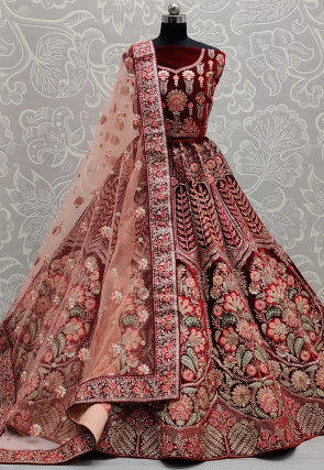 Embroidered Velvet Lehenga in Maroon