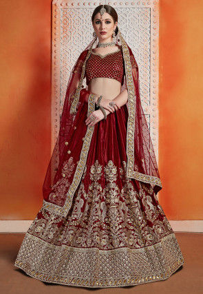 Embroidered Velvet Lehenga in Maroon