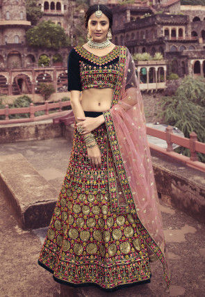 Embroidered Velvet Lehenga in Multicolor