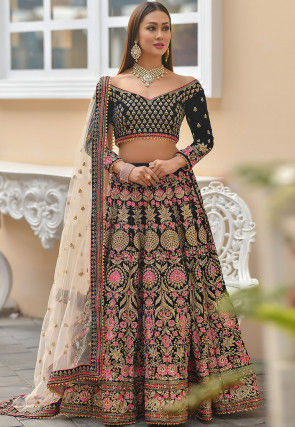 Embroidered Velvet Lehenga in Navy Blue