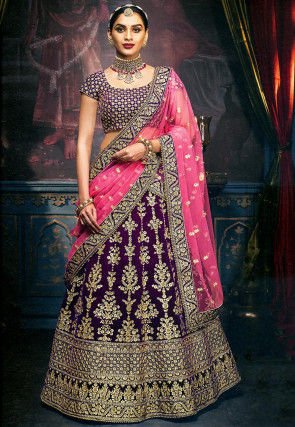 Embroidered Velvet Lehenga in Purple