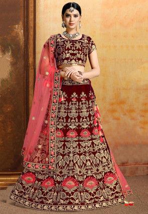 Embroidered Velvet Lehenga in Red