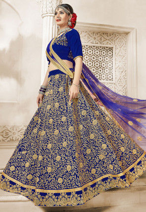Embroidered Velvet Lehenga in Royal Blue
