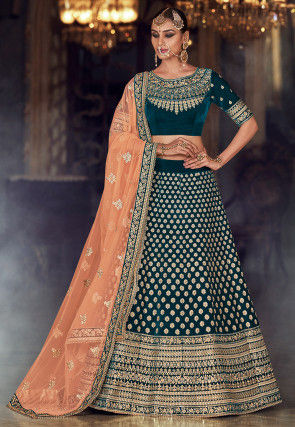 Embroidered Velvet Lehenga in Teal Blue