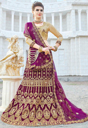 Embroidered Velvet Lehenga in Violet