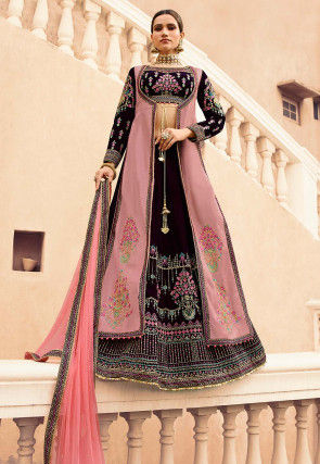 Embroidered Velvet Lehenga in Wine