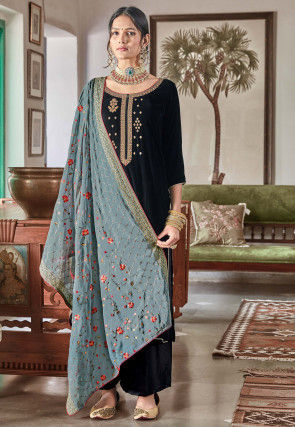 Embroidered Velvet Pakistani Suit in Black