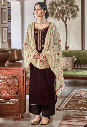 Embroidered Velvet Pakistani Suit in Brown