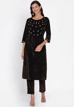 Embroidered Velvet Pakistani Suit in Dark Brown