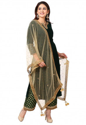 Embroidered Velvet Pakistani Suit in Dark Green