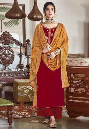 Embroidered Velvet Pakistani Suit in Fuchsia