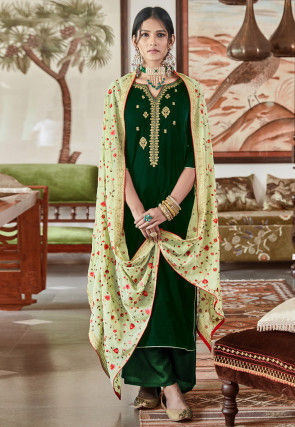 Embroidered Velvet Pakistani Suit in Green