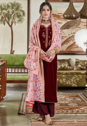 Embroidered Velvet Pakistani Suit in Maroon