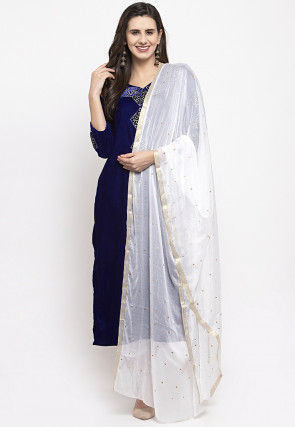 Embroidered Velvet Pakistani Suit in Navy Blue