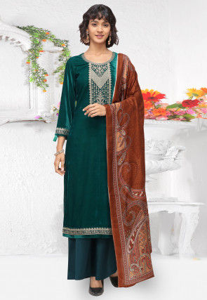 Embroidered Velvet Pakistani Suit in Teal Green