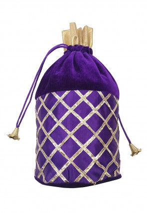 Embroidered Velvet Polti Bag in Purple