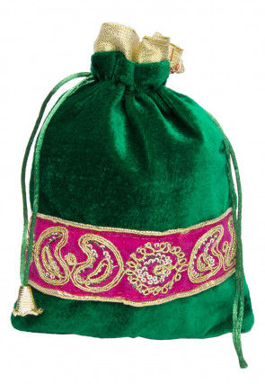 Embroidered Velvet Potli Bag in Green