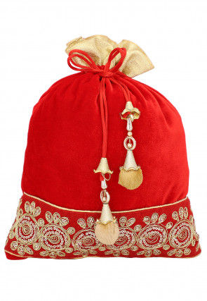 Embroidered Velvet Potli Bag in Red