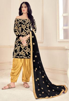 Embroidered Velvet Punjabi Suit in Black