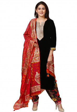 Embroidered Velvet Punjabi Suit in Black