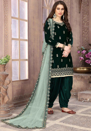 Embroidered Velvet Punjabi Suit in Dark Green