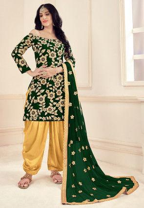 Embroidered Velvet Punjabi Suit in Dark Green