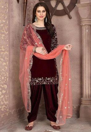 Embroidered Velvet Punjabi Suit in Maroon